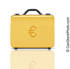 beautiful golden briefcase representing euro money and...