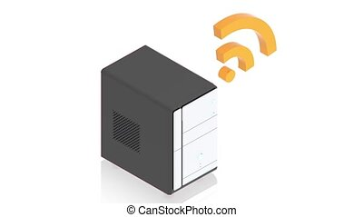 server connected to internet - part of isometric collections...