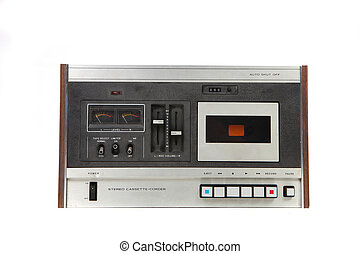 Cassette Vintage Tape Recording Device Isolated on White...