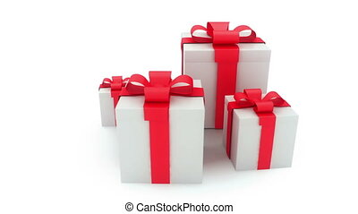 three presents on wite background