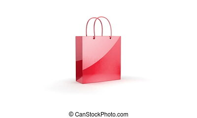 Red bag with presents on white background