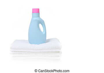 Fabric Softener Detergent Container Sitting on a White...
