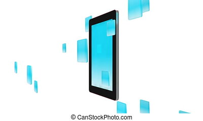 Tablet pc with app icons on white background