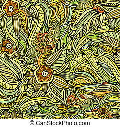 Vector seamless abstract flowers pattern. Endless background