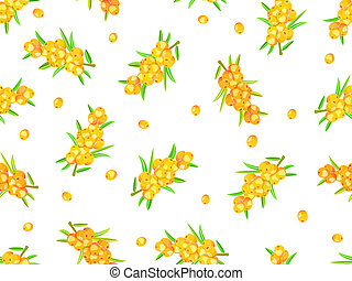 seamless pattern with sea-buckthorn berries on wine -...