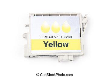 Cartridges for colour inkjet printer isolated on white