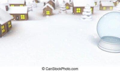 snowgloube on village background - 3D animation of a simple...