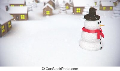 snowman on village background - 3D animation of a simple...