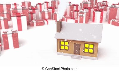 house on a presents background - 3D animation of a simple...