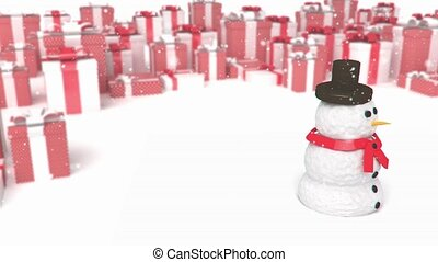 snowman on a presents background - 3D animation of a simple...