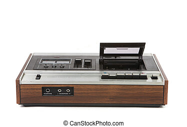 Top Low Angle View of Vintage Audio Cassette Player on White...