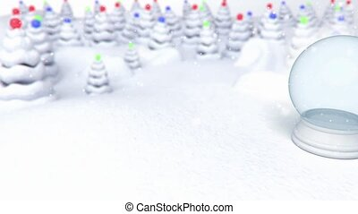 snowglobe snow forest background - 3D animation of a simple...
