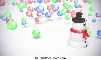 snowman on baclground sphereToys - 3D animation of a simple...