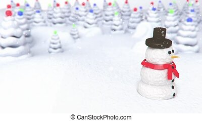snowmanon snow forest background - 3D animation of a simple...