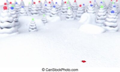 arrow snow forest background - 3D animation of a simple...