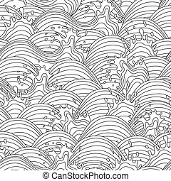 Sea wave background. Seamless pattern. Vector illustration.