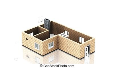 House design progress, architecture - 3D animation of a...