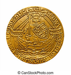 Gold noble coin - Edward III Gold Noble coin isolated over...