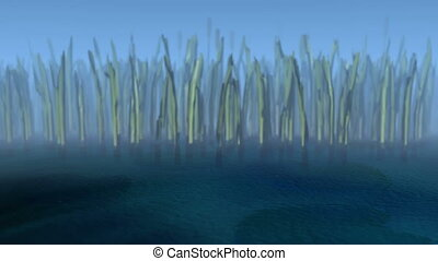 3D animated swamp - 3D swamp with wavy water. Focus is on...