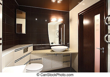bathroom - The beautiful modern bathroom finished with a...