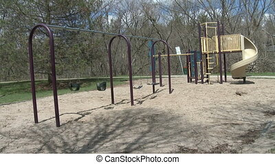 Children's playground in a park in Guelph, Ontario, Canada