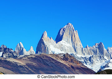 The rocky mountain Fitzroy - Argentine Patagonia. The famous...