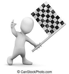 3d Little person checkered flag - 3d render of a little...