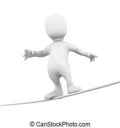 3d Little person tight rope - 3d render of a little person...
