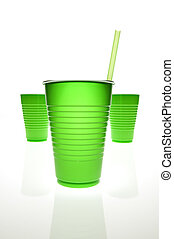 Green plastic cups - Empty plastic cups with mirrored...