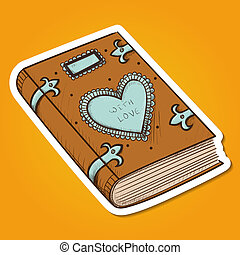 Book with decorative heart. - Paper sticker imitation....
