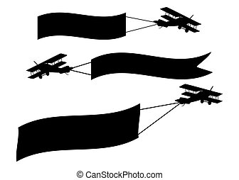 Airplanes with banners isolated on a white background.