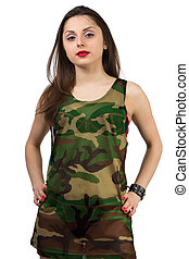 Girl in shirt - Girl in camouflage shirt - isolated photo...