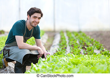 Young attractive farmer verify progress of culture - View of...