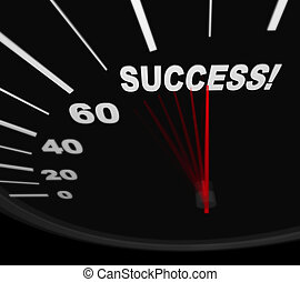 Racing Toward Success - Speedometer - A black automobile...