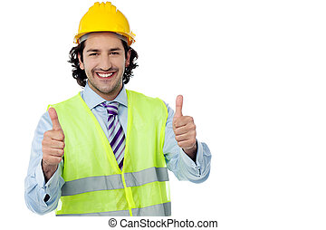 Successful engineer showing thumbs up - Happy architect with...