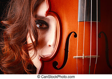 girl with violin - Beautiful young girl with violin. Studio...