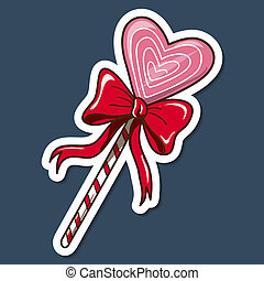 Heart shaped lollypop with bow - Paper sticker imitation...