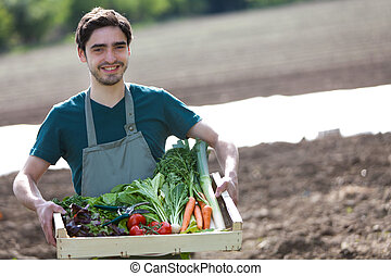 Young happy farmer with a crate full of vegetable - View of...