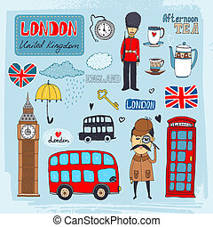 London landmarks - Set of hand-drawn illustrations of London...