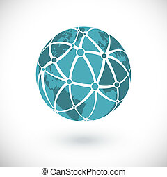 Global network icon - Vector global network icon on white...