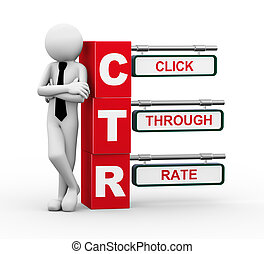 3d businessman with ctr signpost illustration