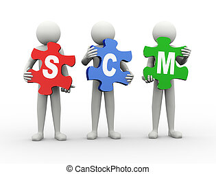 3d man puzzle piece - scm - 3d rendering of people holding...