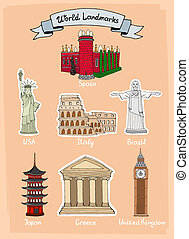 World landmarks icon set - World Landmarks hand-drawn icon...