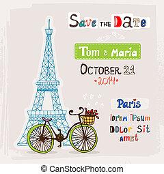 Paris wedding invitation