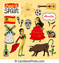 Landmarks and icons of Spain - Set of hand-drawn landmarks...