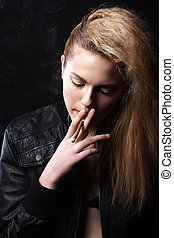 Woman with Cigarette Exhaling Smoke