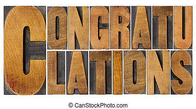 congratulations in wood type - congratulations - isolated...
