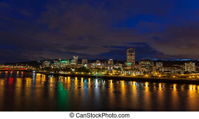 Portland Oregon Downtown Cityscape Skyline Bridges and...