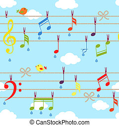 vector birds and music bacjground with clouds on blue