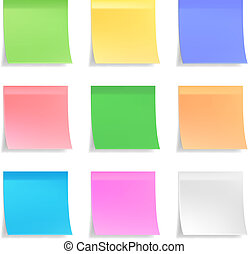 Collection of vector sticky notes - Collection of 3d vector...